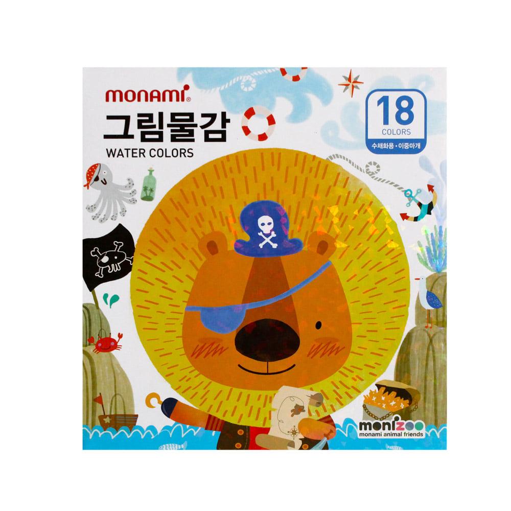 모나미 수채화물감 SET_MONIZOO 수채6ml 18색 남