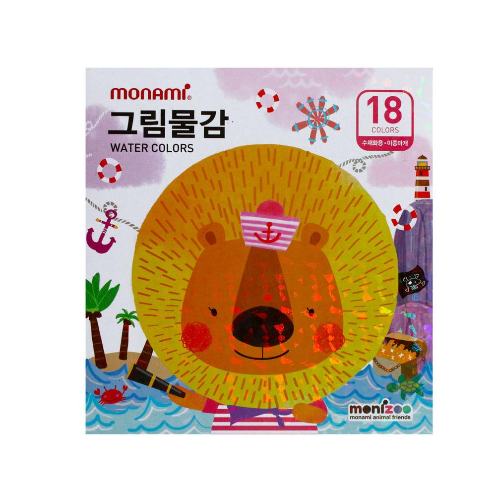 모나미 수채화물감 SET_MONIZOO 수채6ml 18색 여