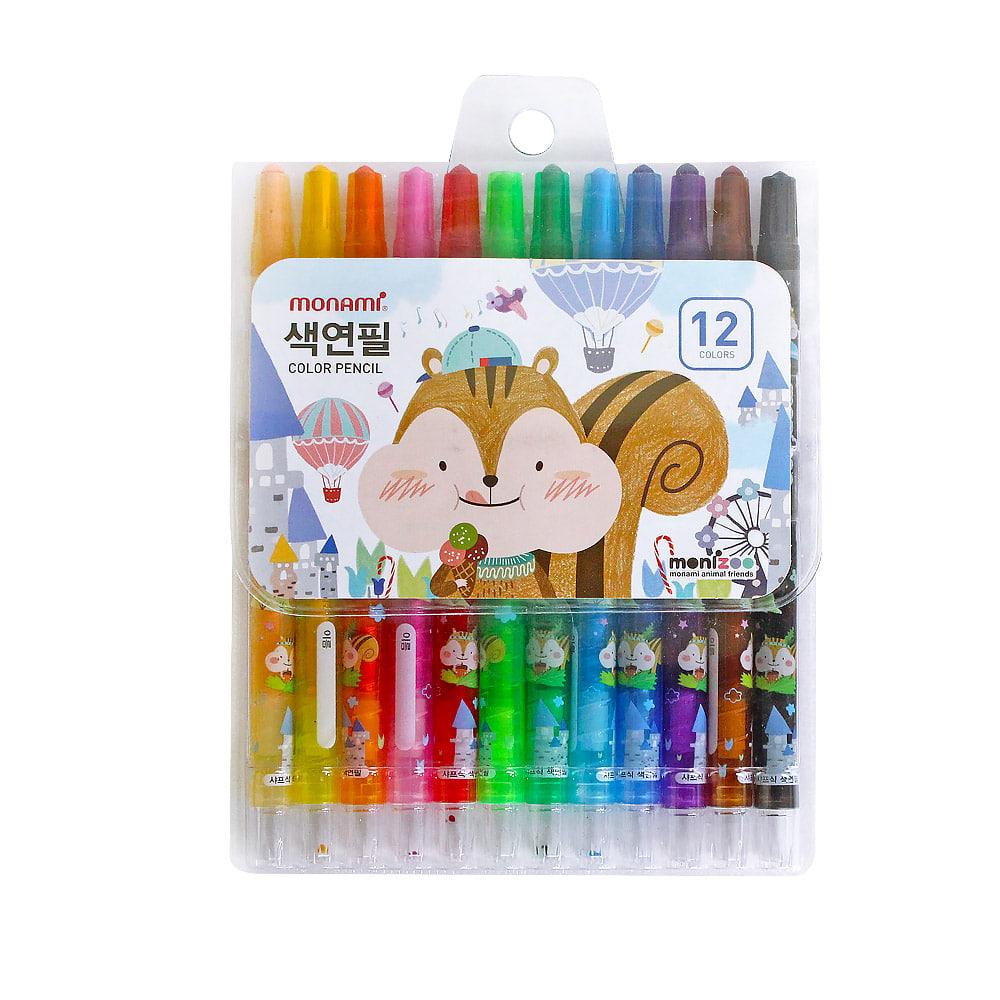 모나미 색연필 SET_MONIZOO 샤프식 색연필 12색 남