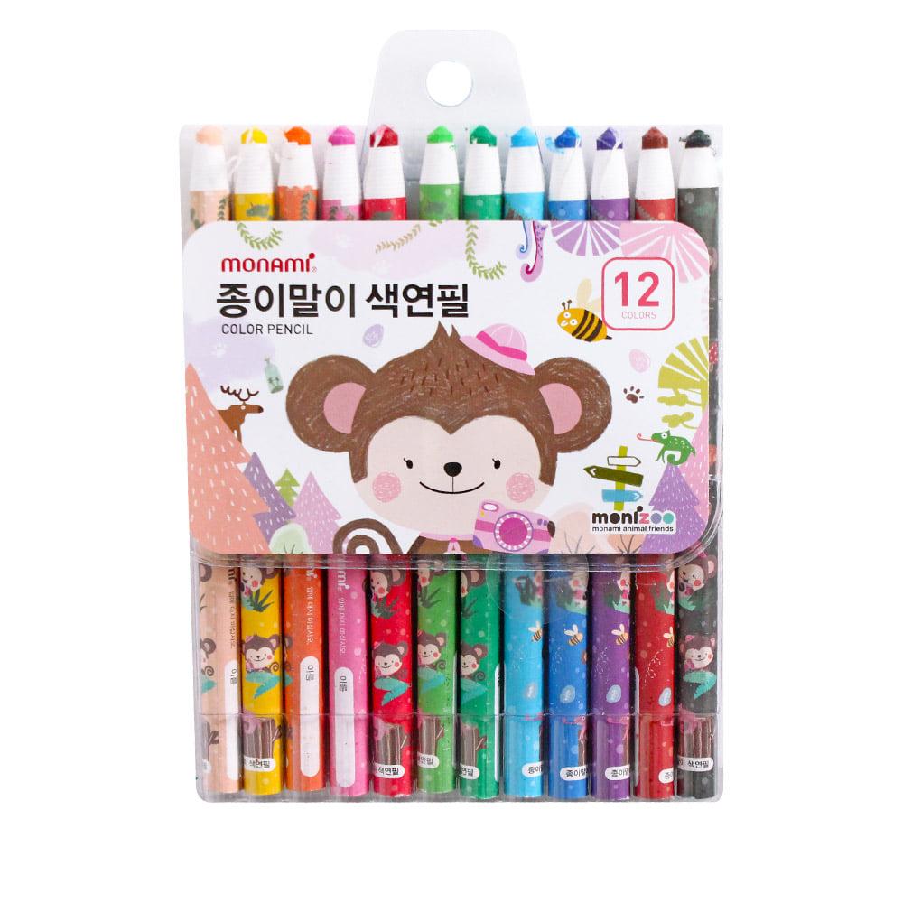 모나미 색연필 SET_MONIZOO 축지식 색연필 12색 여