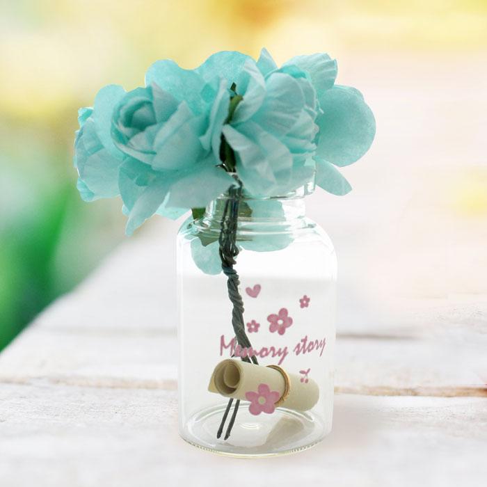 유리병 꽃다발 편지 편지지 기념일 플라워-블루