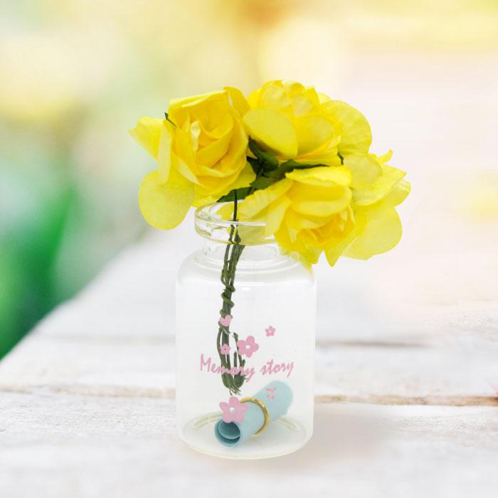 유리병 꽃다발 편지 편지지 기념일 플라워-옐로우
