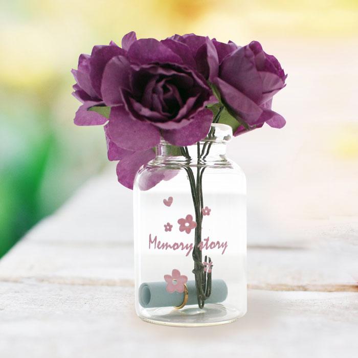 유리병 꽃다발 편지 편지지 기념일 플라워-퍼플