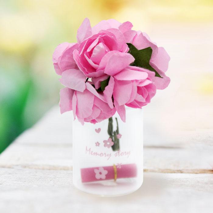 유리병 꽃다발 편지 편지지 기념일 플라워-핑크