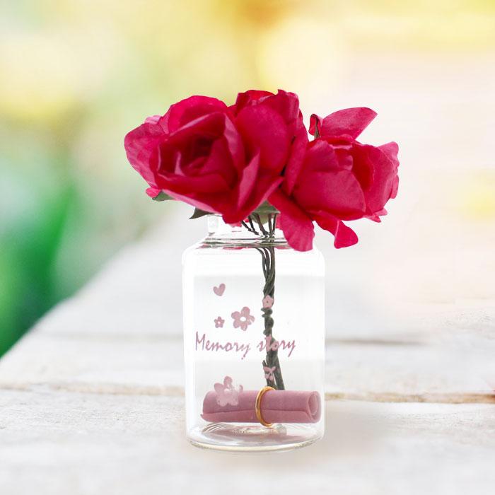 유리병 꽃다발 편지 편지지 기념일 플라워-핫핑크